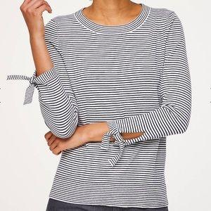 LOFT striped crewneck sweater w/ tie sleeves XXS